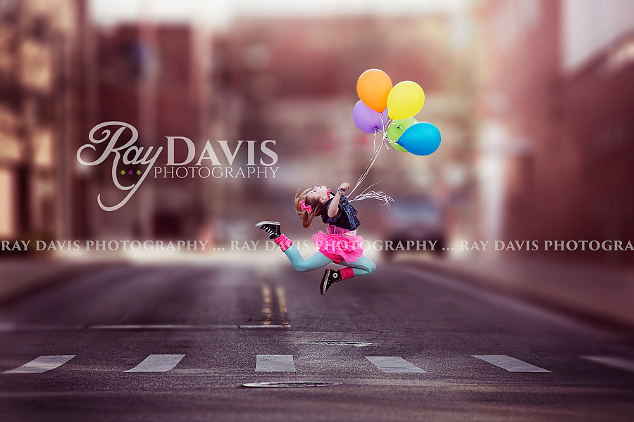 Louisville Dance Photographer captures girl in air with ballooons