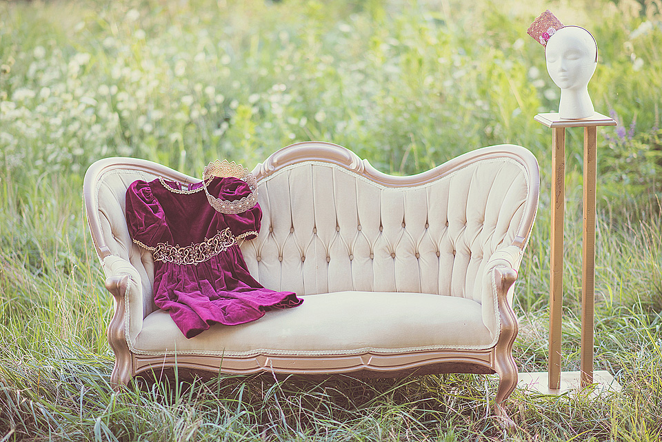 Princess Session with couch and dress outfit with Louisville Child Photographer