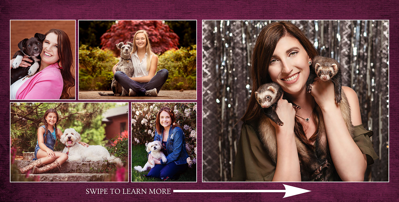 Girls with their pets including dogs and ferretts with Louisville Photographer