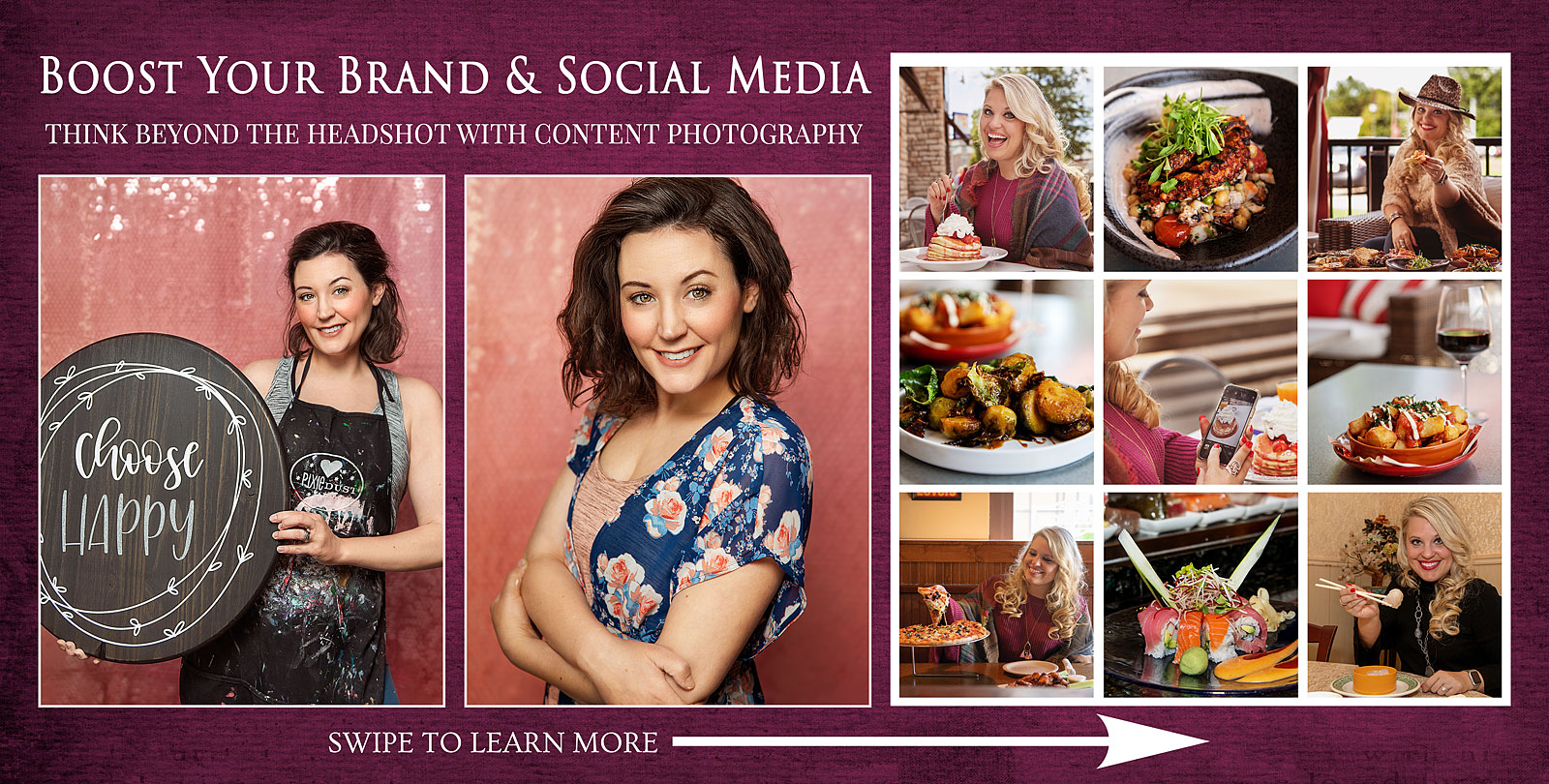 Brand & Social Media images showing headshots and more