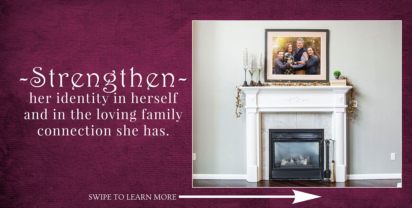 Louisville Family Portrait aframed above fireplace to help strengthen bonds