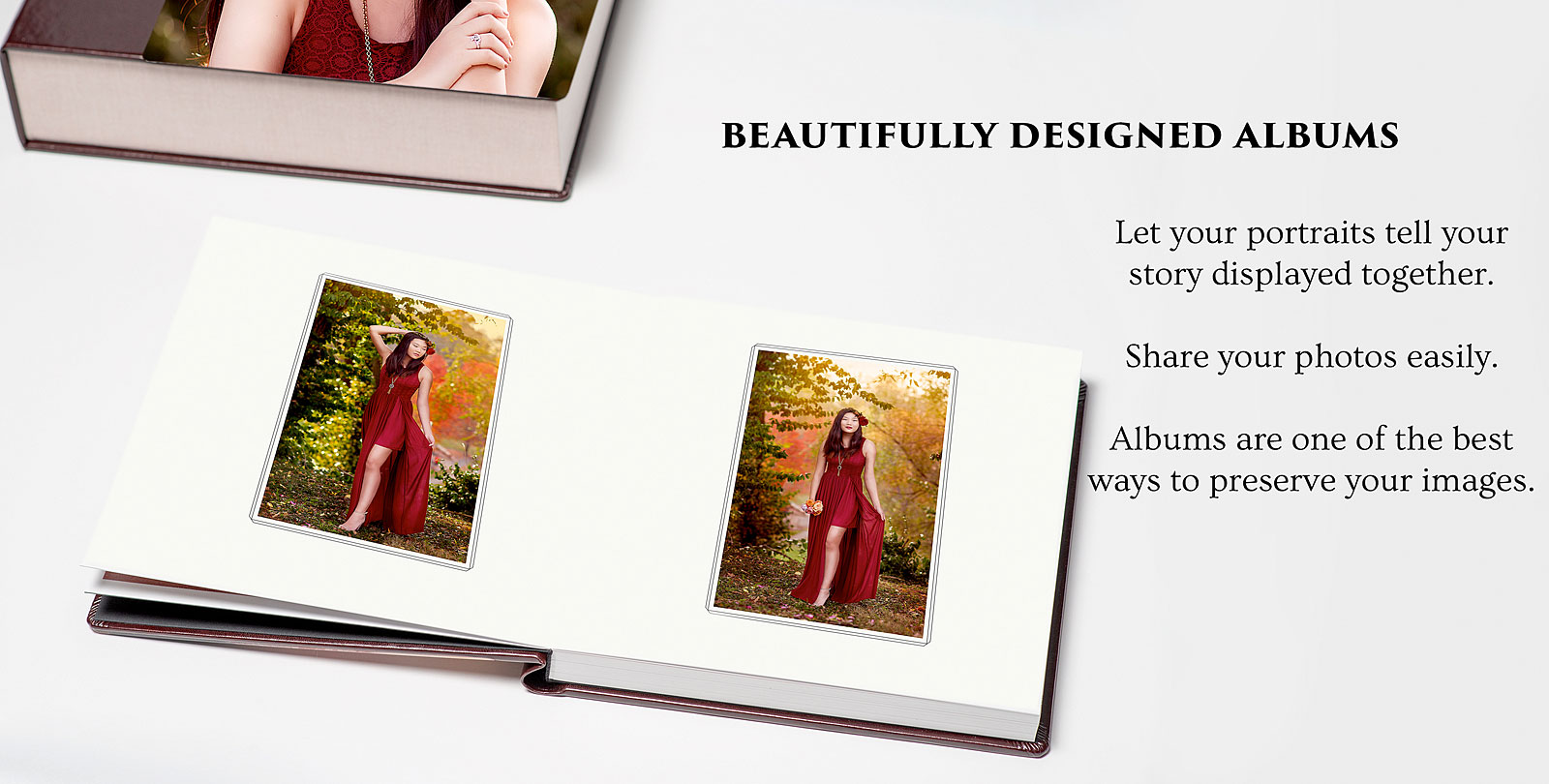 High School Senior Photo Album of girl in red dress sitting on white table taken by Louisville Photographer