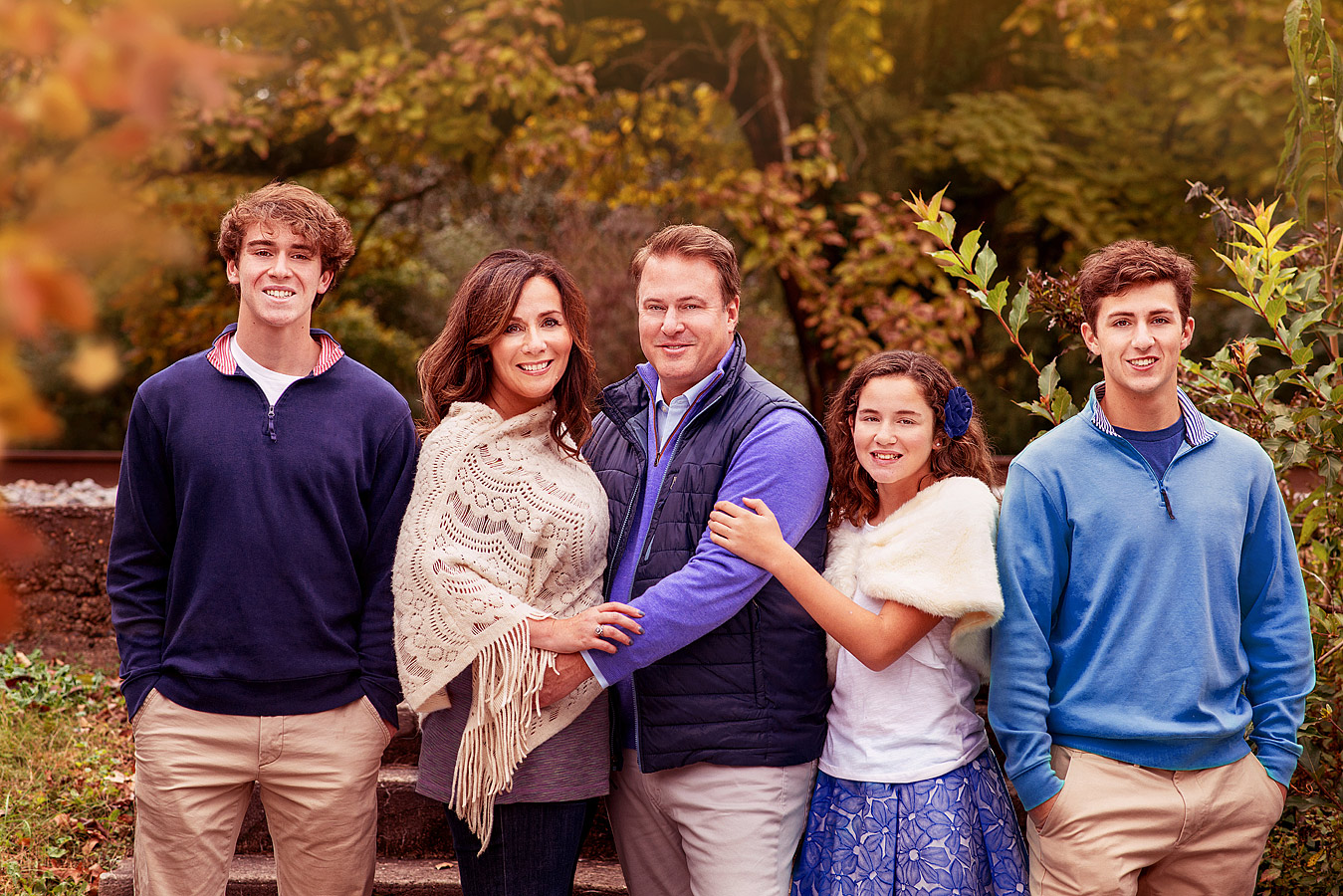 Fall Family Portraits of Mature Family in Blue Outfits by Lousville Family Photographer