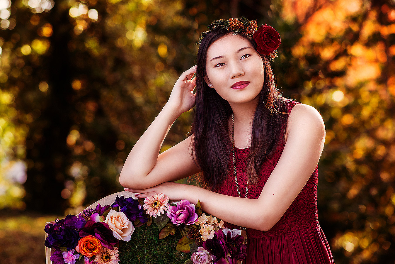 Girl with Flower Crown for Fall Senior Pictures with Louisville Senior Photographer
