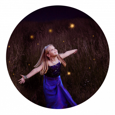 Little Girl dressed as princess with fireflies at night by Louisvilles's Best Child Photographer