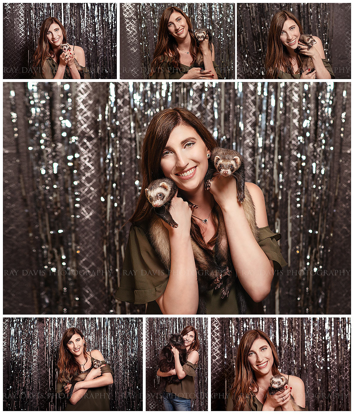 Bellarmine Graduate holding Ferrets by Louisville Portrait Studio Photographer