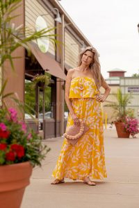Heyman Talent Model wearing yellow dress from Darling State of Mind in Westport Village Louisville Ky