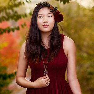 Louisville Senior Portrait of Asian Girl in Red Dress and FLower Crown
