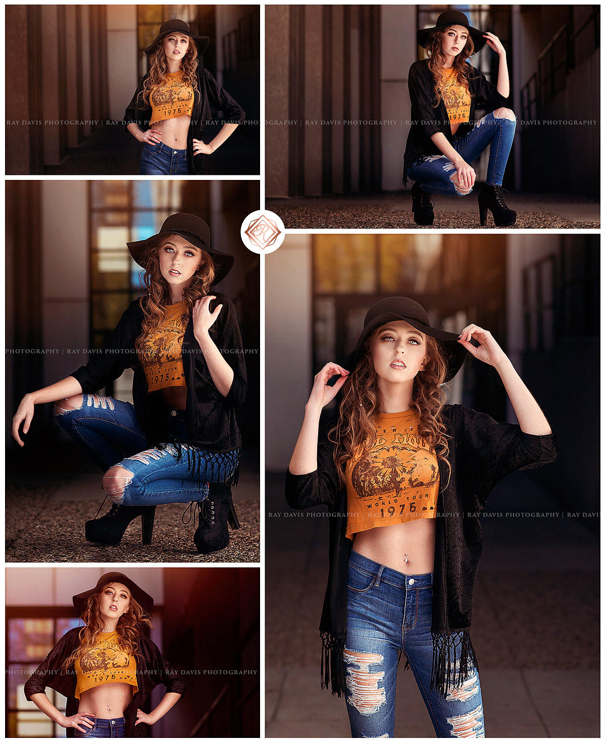 Bold urban senior session with hipster style girl wearing crop top and black floppy hat for pictures with Top Louisville Senior Photographer Ray Davis Photography