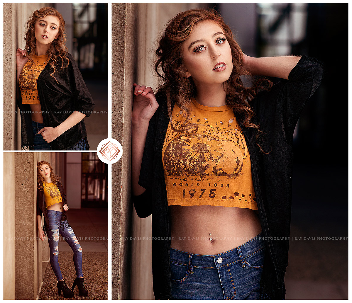 Louisville Model Photos with Senior Photographer Ray Davis of girl in yellow crop top and ripped jeans