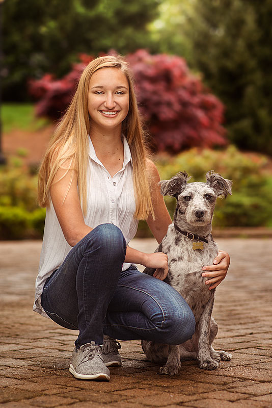 Louisville Senior Picture of girl with pet dog in Anchorage KY