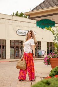 Summer outfit from Collections Boutique woman shopping in westport village taken by louisville personal branding photographer