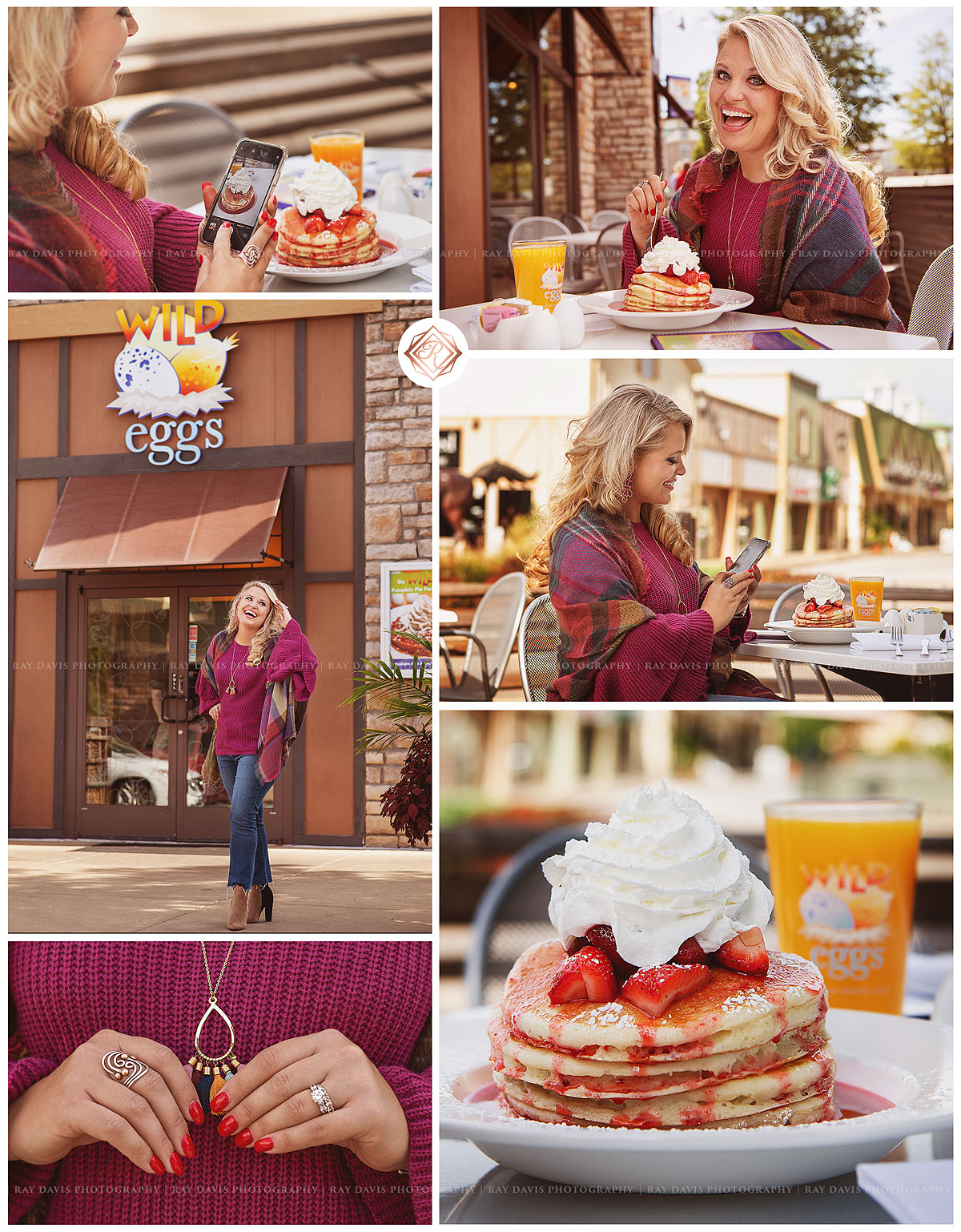 Instagram Influencer of @eatlovelouisville enjoys eating pancakes at Wild Eggs in Westport Village
