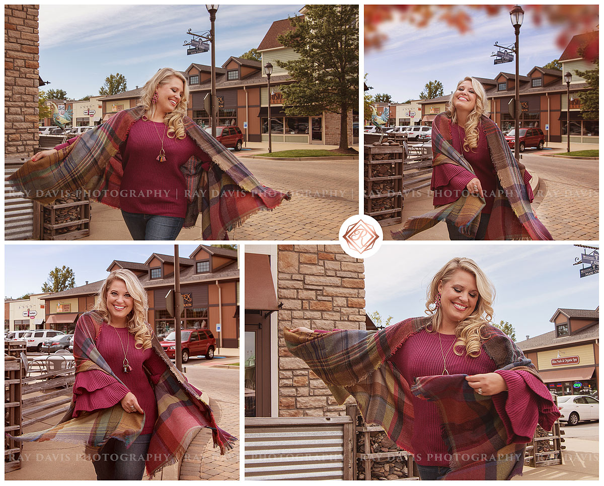 Allison walking through Westport Village waring a fall sweater from Darling State of Mind for Louisville Business Photography