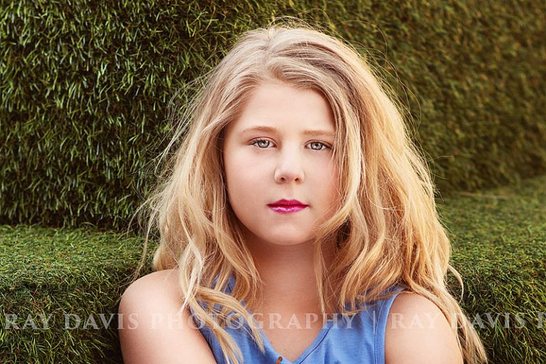 Little girl with blonde hair for close up model headshots with Louisville Tween Photographer