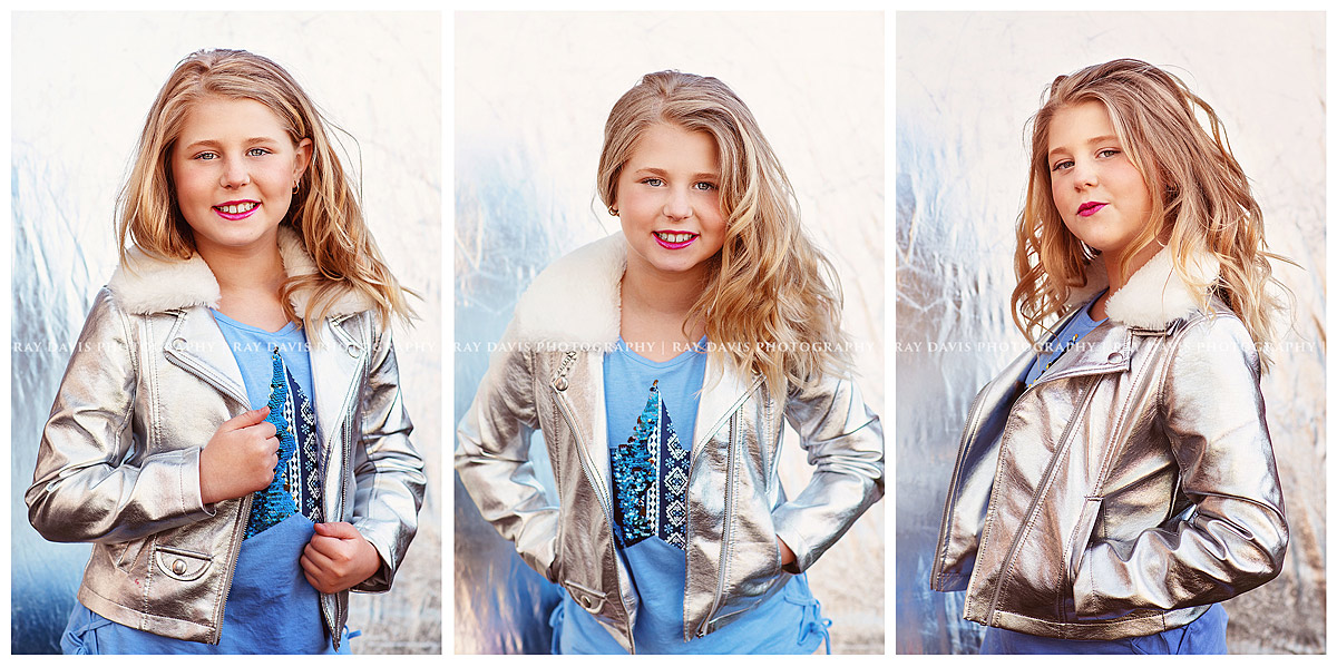 child model in silver jacket for headshots with Louisville Tween Photographer