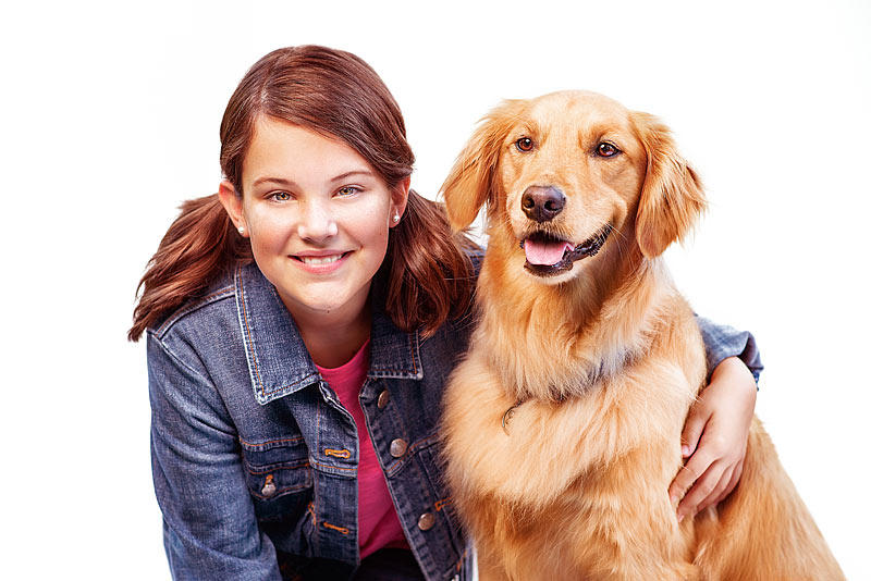 Preteen Heyman Talent Model Headshot with Golden Retriever Dog by Louisville Model Photographer