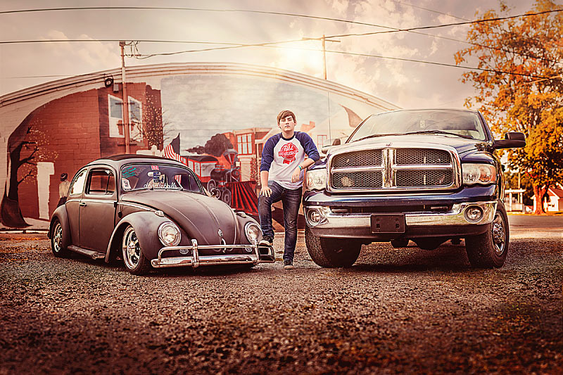 Louisville High School senior Boy with truck and vintage car for Oldham County High School Senior Photographer