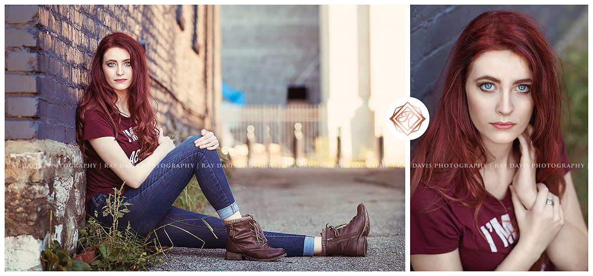 Girl sitting on ground in urban downtown area for Louisville Senior Pictures with Ray Davis Photography