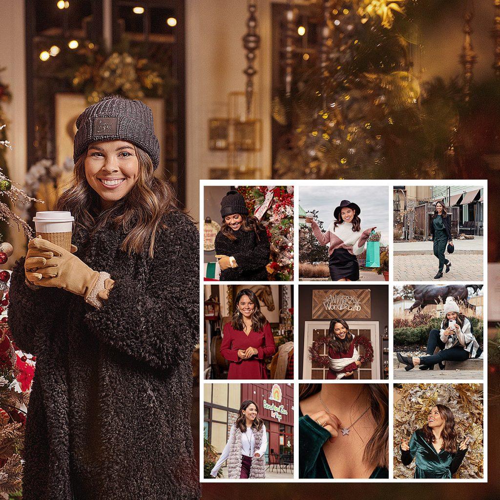 Holiday Instagram Influencer for Westport Village Shopping Center enjoying coffee taken by Louisville Branding Photographer
