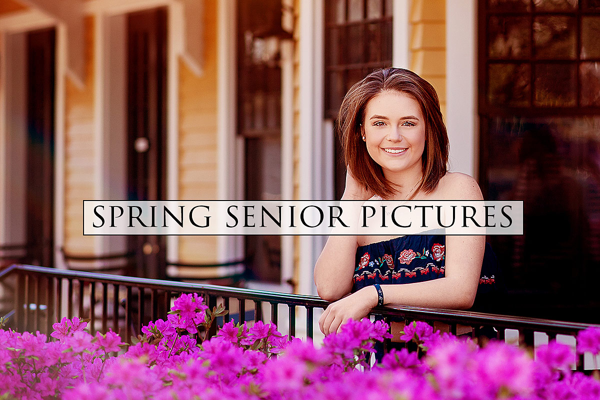Spring Senior Pictures with Louisville Senior Photographer Ray Davis Photography surrounded by purple flowers