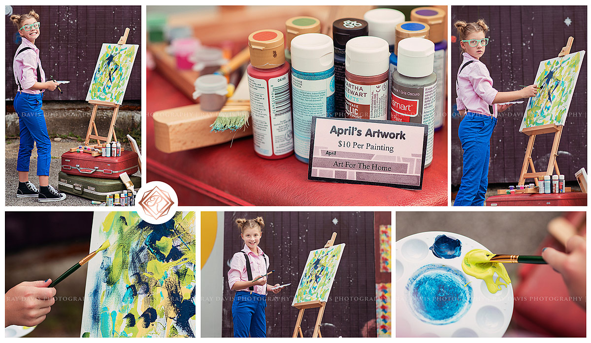 kid girl painting on canvas balanced on suitcases for child pictures with Louisville Tween Photographer Ray Davis Photography