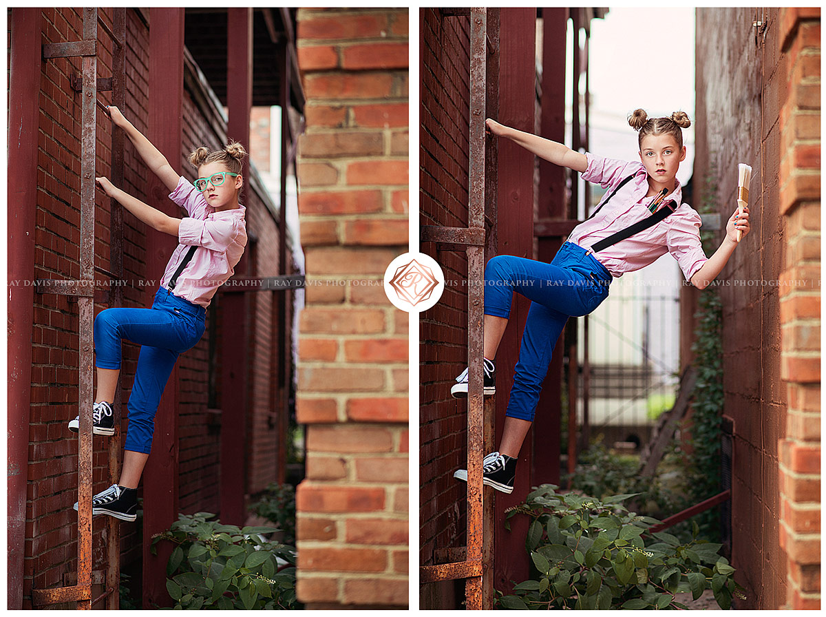 Girl on ladder with paint brush for tween portraits with Louisville Childrens Photographer Ray Davis Photography