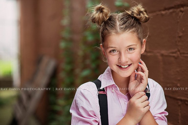 Girl with Twin Buns hairstyle for model headshot with Louisville tween Photographer Ray Davis Photography