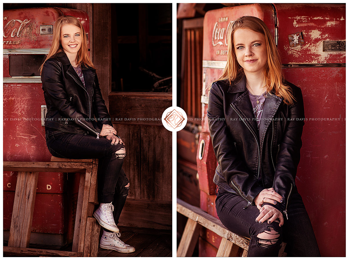 rustic oldham county high school girl in fornt of old coca cola machine in lagrange ky for louisville senior pictures with Ray Davis Photography