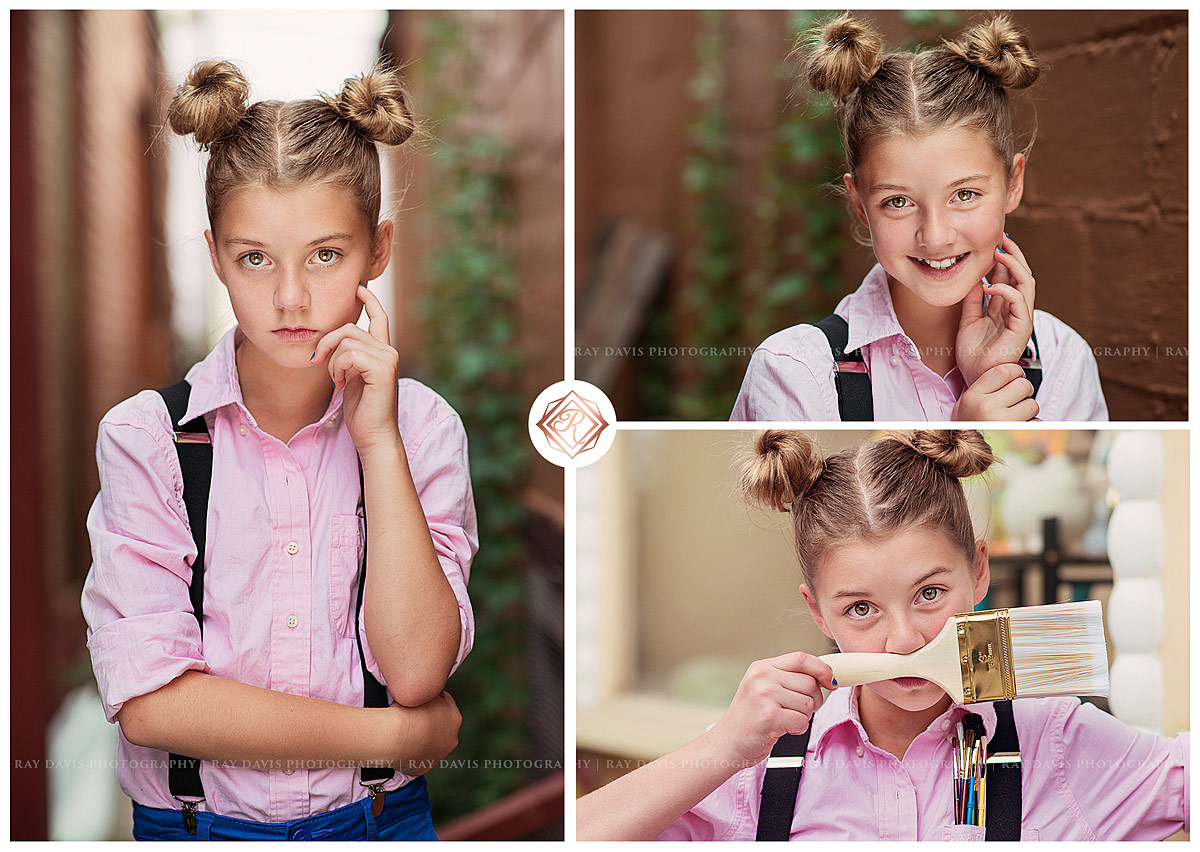 Cute tween girl with twin buns hair style for pictures with Louisville Child Photographer Ray Davis Photography