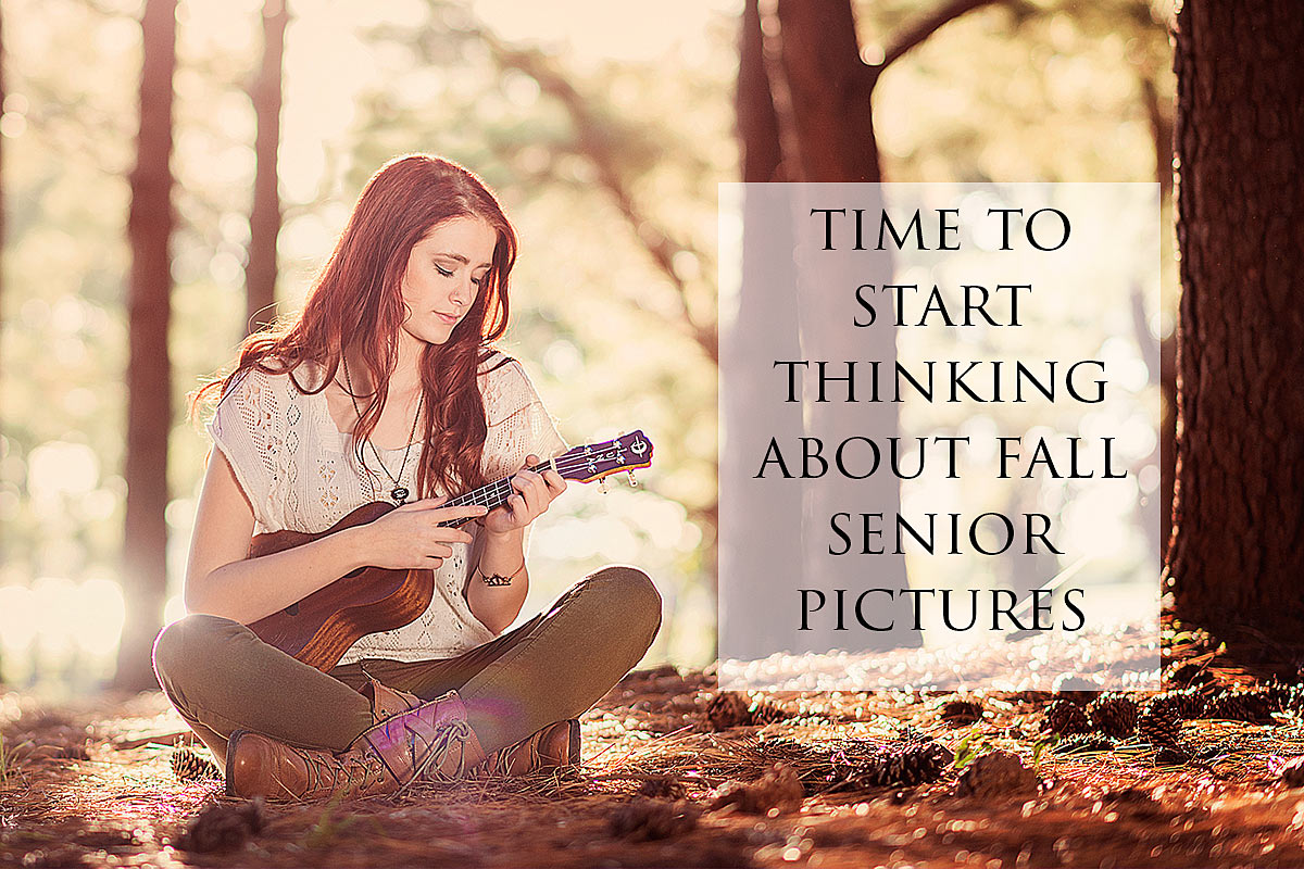 Girl Playing ukulele ad promoting booking louisville fall senior pictures early