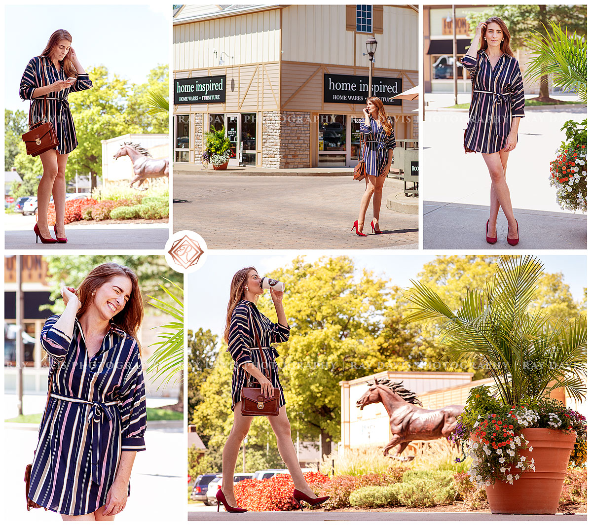 The Blush Influence instagram influencers in Westport Village wearing striped dress from Apricot Lane during content and branding photo session with Ray Davis Photography