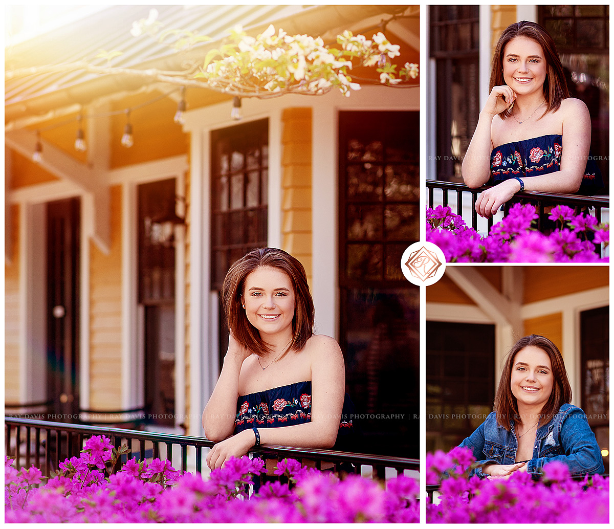 High School Senior Girl leans on railing at The Village Anchor for Louisville Senior Pictures by Ray Davis Photography