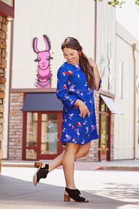 Instagram Influencer in Blue Dress from Tunies Boutique in Westport Village by Louisville Branding Photographer