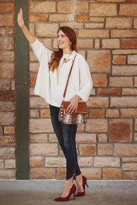 Woman Waving in Westport Village wearing Tunies Boutique outfit by Louisville Commercial Photographer