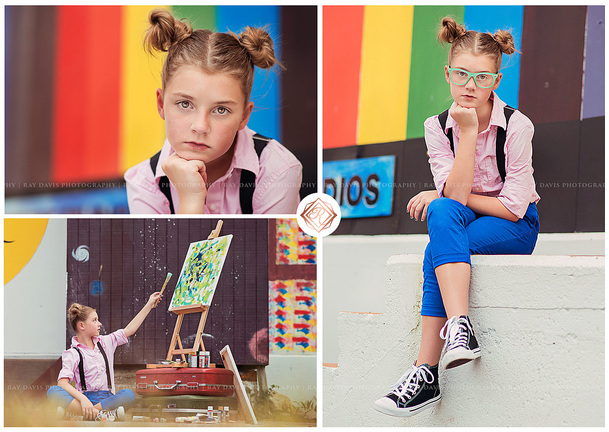 Creative Tween with twin buns painting for louisville tween photo session with Ray Davis Photography