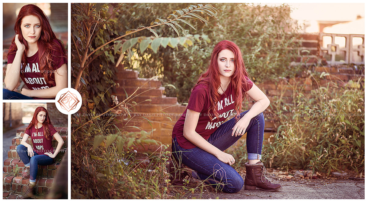 Urban style girl wearing red shirt all about naps by Louisville Senior Photographer Ray Davis Photography