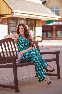 Woman on Bench in Westport Villlage wearing Tunies Boutique for Louisville Content Photographer