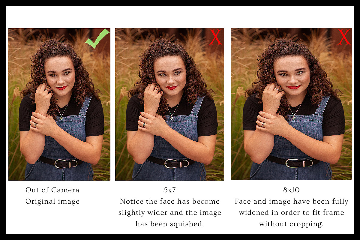 Stretched portrait showing poor scaling instead of cropping for print sizes when printing photos