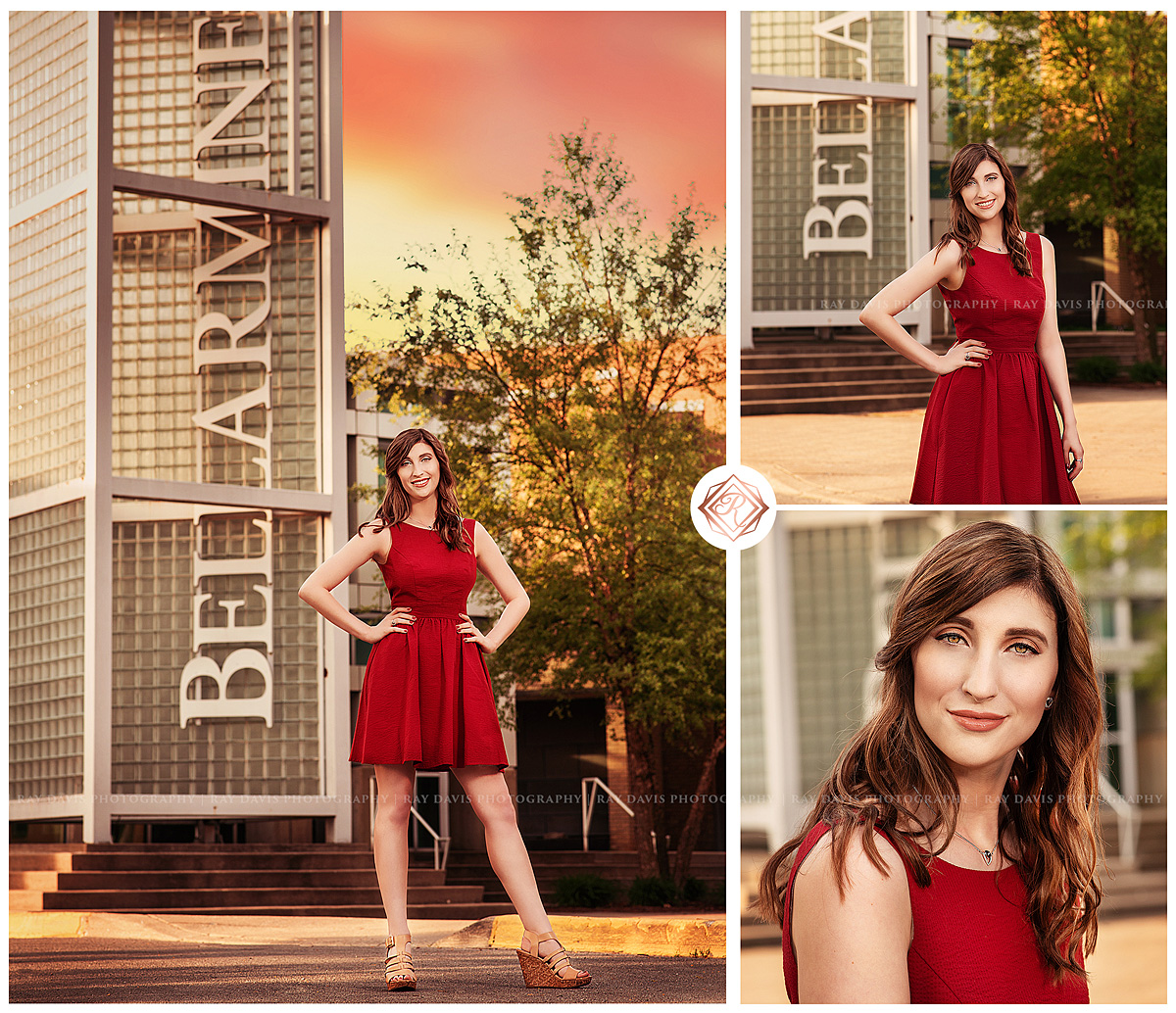 Bellarmine University campus with girl in red dress for Grad session pictures