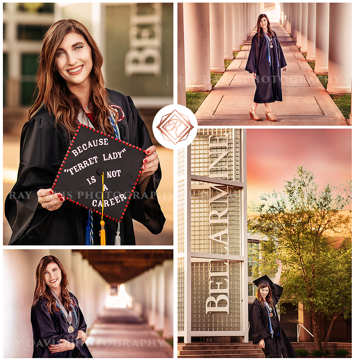Bellarmine University Grad Picture of girl in Cap and gown on campus