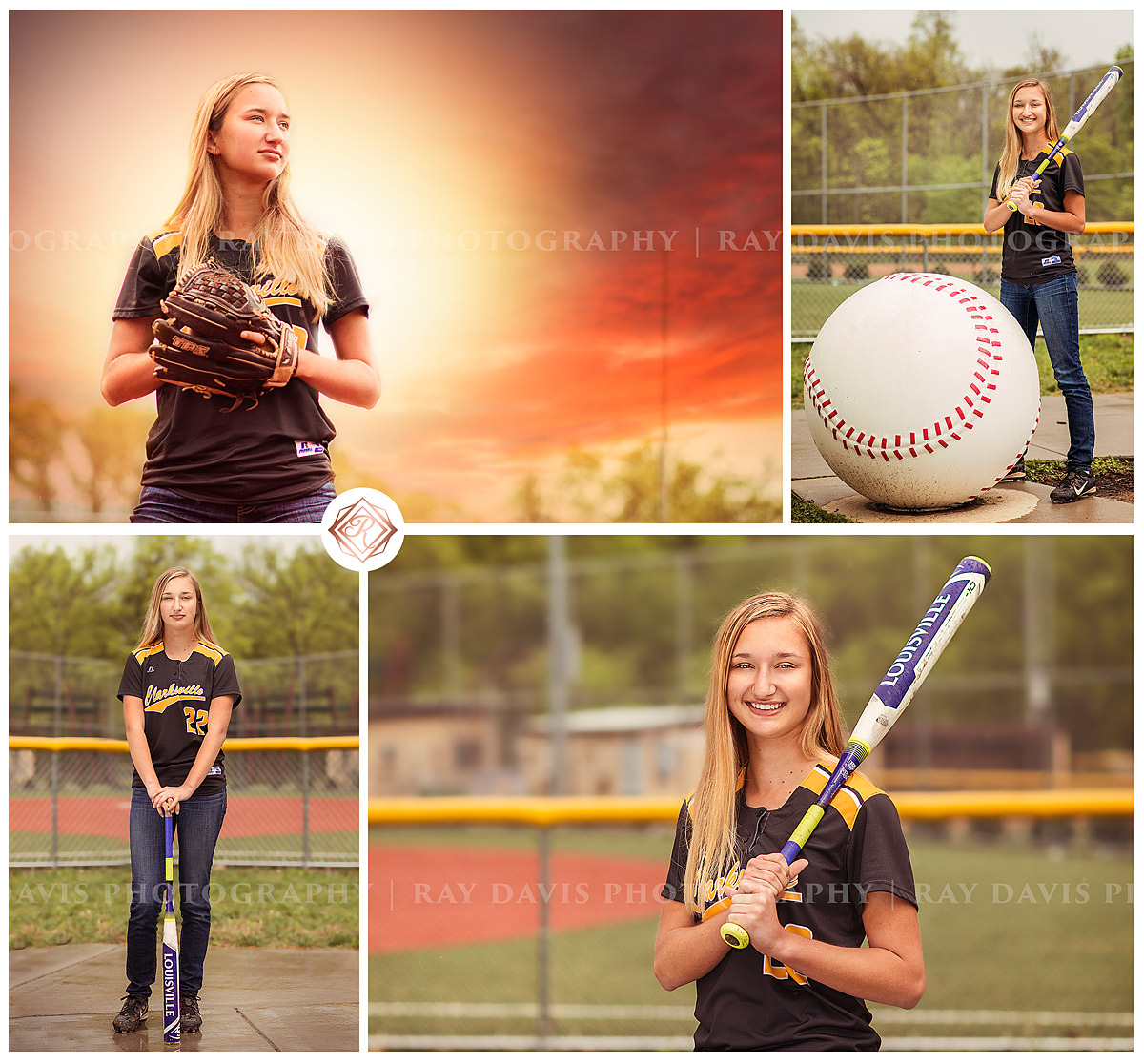 Senior Girl Softball Pictures with bat and on field in Louisville KY by Ray Davis Photography