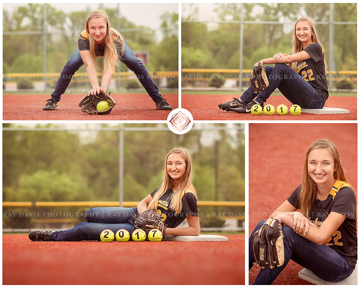 Softball Player Senior Girl from Clarksville High School on baseball field by Ray Davis Photography in Louisville KY
