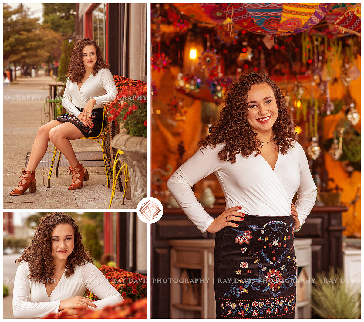 Downtown Louisville Senior Pictures of girl beside Red Tree Nulu