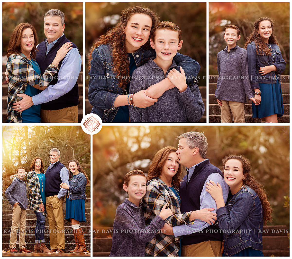 Fall family pictures of Mom, Dad and 2 kids by Louisville Family Photographer Ray Davis Photography