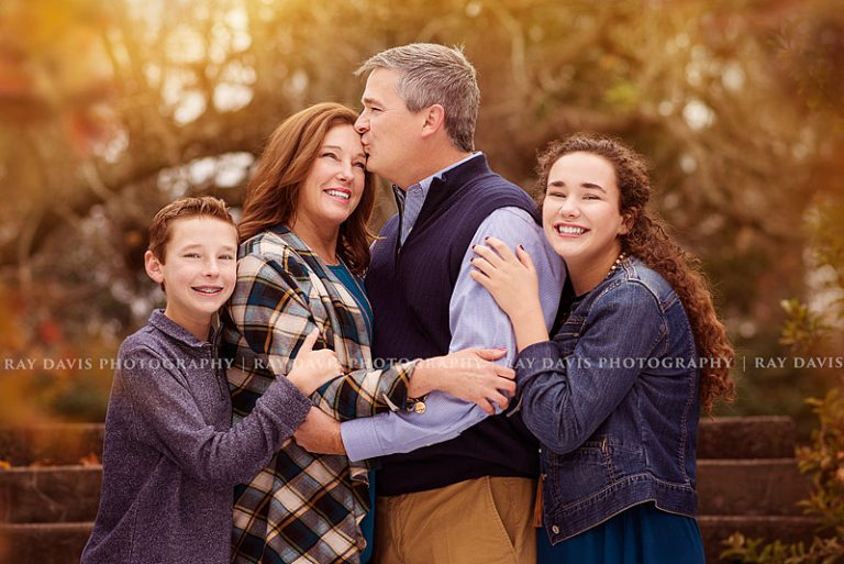 Family wearing blue and khaki for Fall Family Pictures in Louisville KY
