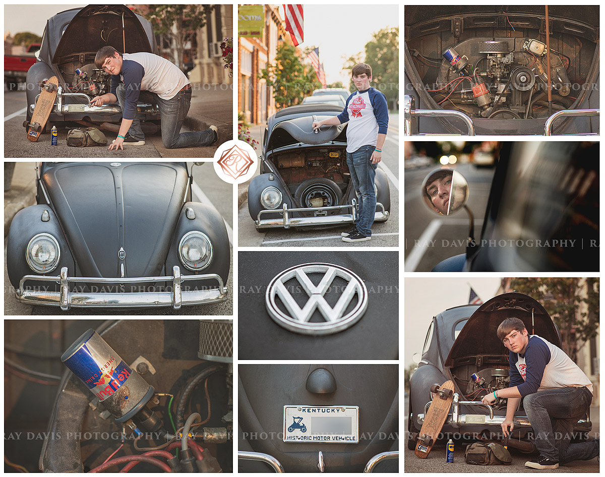 Senior Guy with VW Bug Beetle Car in Lagrange KY taken by Louisville Photographer