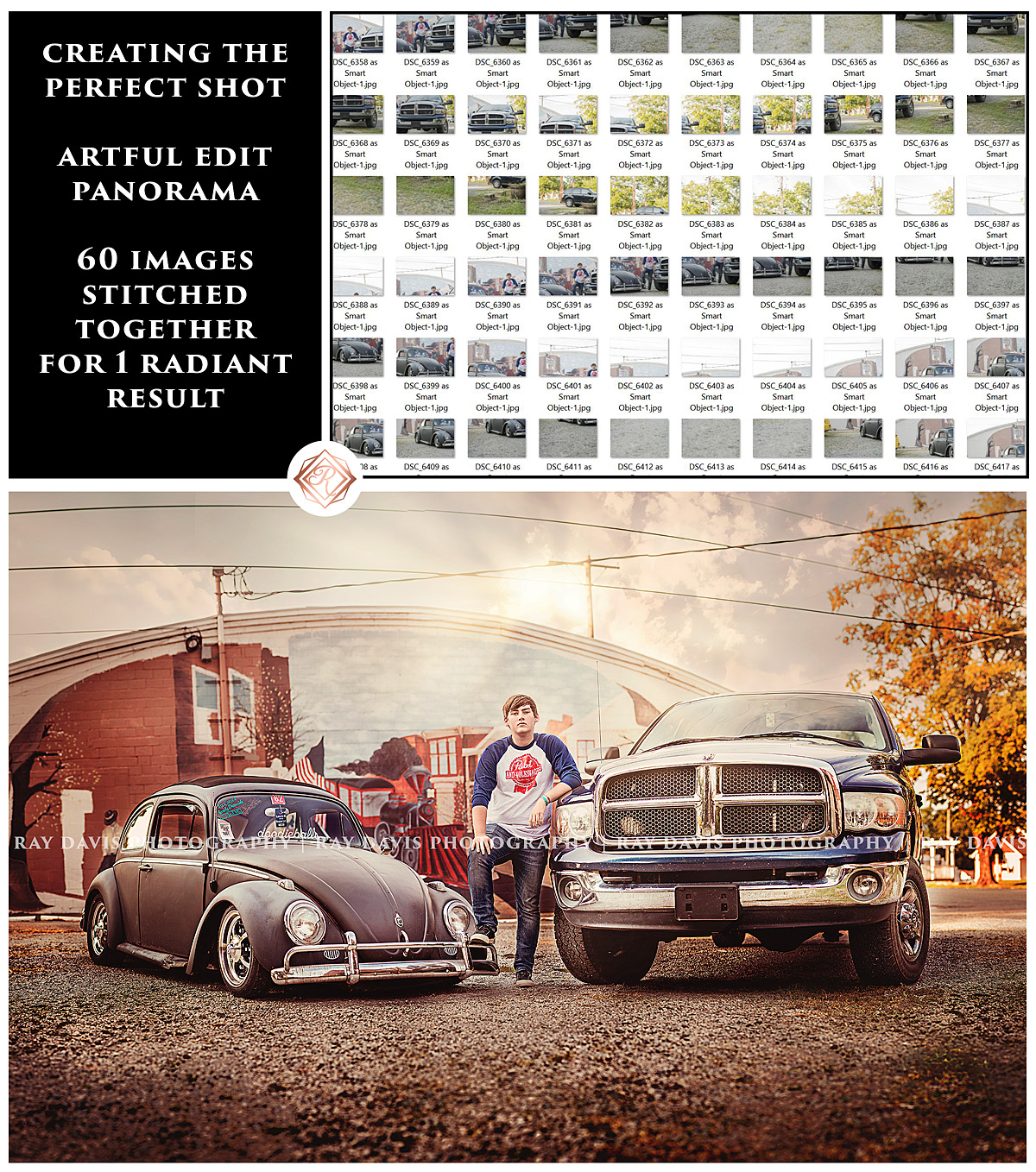 Guys Senior Picture with cars Vw Beetle and Truck Panorama