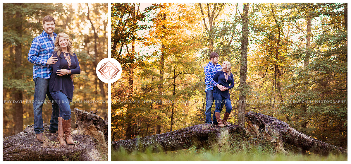 Engagement couple photo in the woods by Louisville Family Photographer