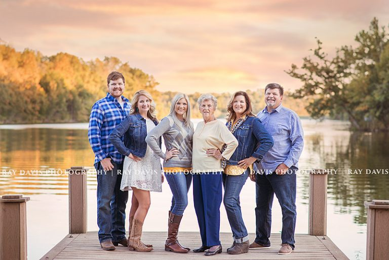 Louisville Family Photographer creates lake side family picture for mature multi-generational family